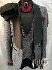 Gray and Black With Body Design Tuxedo Suits by Angelo Cucci - 3PCS | Clothing for sale in Lagos State, Lagos Island