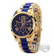 Geneva Rhinestone Wrist Watch - Gold/ Blue | Watches for sale in Lagos State, Agege
