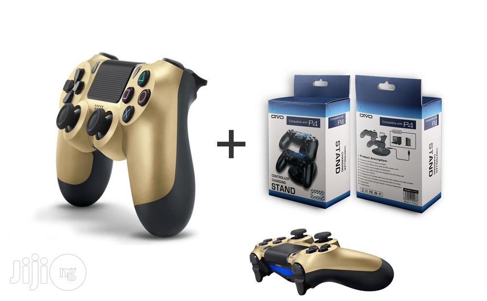 Sony Ps4 Controller Pad - Gold + Dual Wireless Charger
