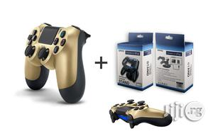 Sony Ps4 Controller Pad - Gold + Dual Wireless Charger | Accessories & Supplies for Electronics for sale in Lagos State, Ikeja