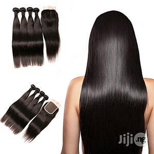 Generic Generic Peruvian Straight Hair Bundles With Closure 3 Bundles   Hair Beauty for sale in Lagos State, Lagos Island (Eko)