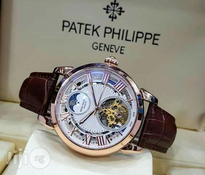 Patek Philippe Rose Gold Leather Strap Watch