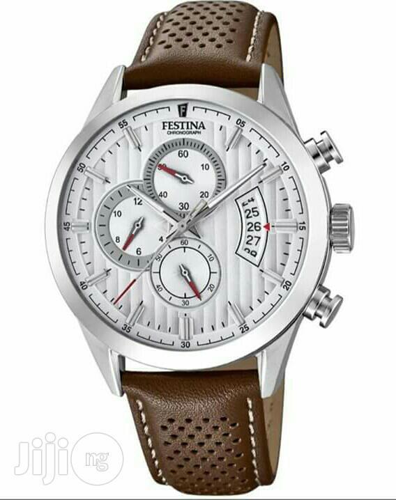 Festina Chronograph Silver Leather Strap Watch