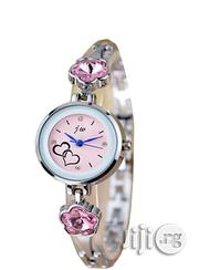 JW Classic Watch With Pink Studs - Silver Strap | Watches for sale in Lagos State, Agege