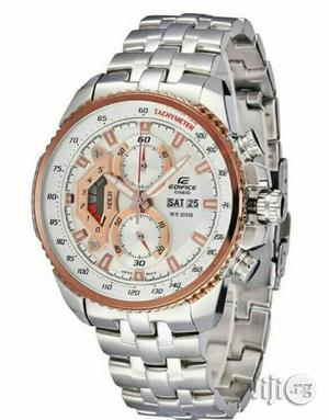 Casio Edifice Chronograph Silver/Rose Gold Chain Watch | Watches for sale in Lagos State, Lagos Island (Eko)