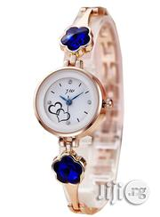 JW Classic Watch With Royal Blue Studs -Rosegold Strap | Watches for sale in Lagos State, Agege