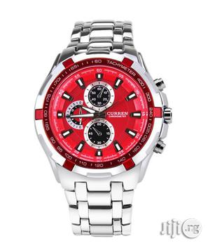 Curren Analog Waterproof Watch - Silver-Redface | Watches for sale in Lagos State, Agege