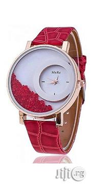 Mxre Rhinestone Leather Watch - Red | Watches for sale in Lagos State, Agege