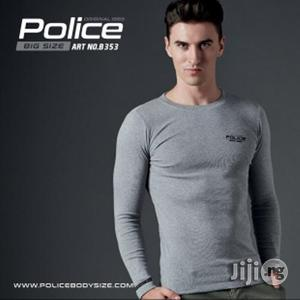 Police B.353 Bigsize Grey Large Printed Long Sleeve T-Shirt   Clothing for sale in Lagos State, Surulere
