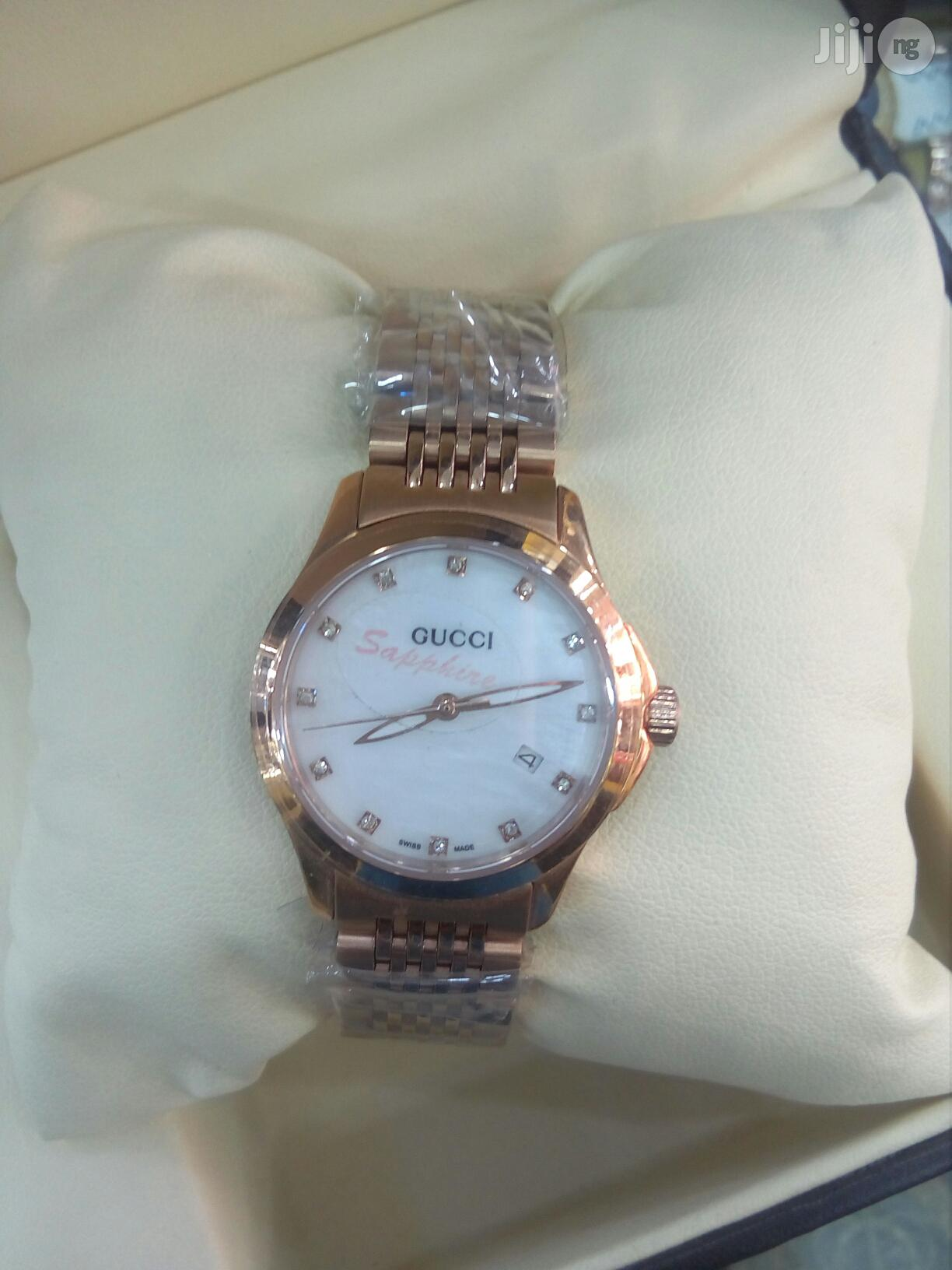 Gucci Flat Rosegold Chain Ladies Watch