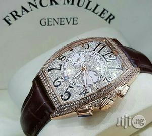 Franck Muller Chronograph Full Ice Rose Gold Leather Strap Watch | Watches for sale in Lagos State, Lagos Island (Eko)