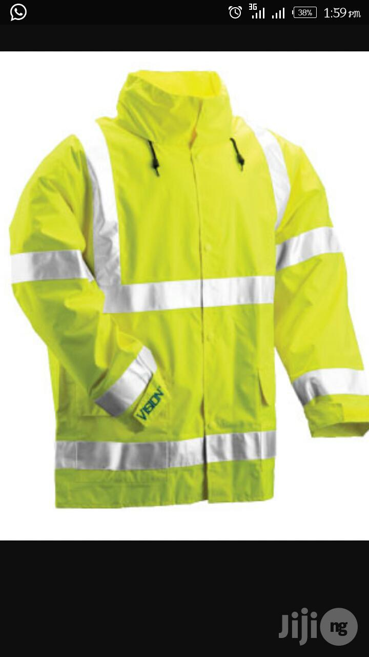 Safety Rain Coat With Reflective Stripes