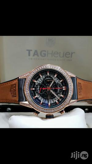 Tag Heuer Ice Head Chronogragh Genuine Leather Strap Watch   Watches for sale in Lagos State, Surulere
