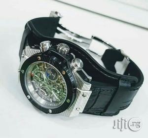Hublot Chronograph Silver/Black Leather Strap Watch | Watches for sale in Lagos State, Lagos Island (Eko)