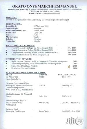 Clerical & Administrative CV | Restaurant & Bar CVs for sale in Enugu State