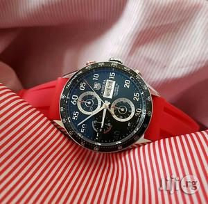 Tag Heuer Chronograph Silver Red Rubber Strap Watch | Watches for sale in Lagos State, Lagos Island (Eko)
