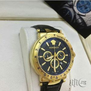Gianni Versace Chronograph Genuine Leather Strap Watch | Watches for sale in Lagos State