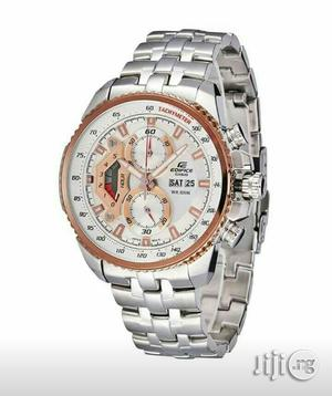 Edifice Casio Rose Gold/Silver Chain Watch | Watches for sale in Lagos State, Lagos Island (Eko)