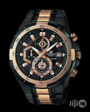 Edifice Casio Black/Rose Gold Chain Watch | Watches for sale in Lagos State, Lagos Island (Eko)