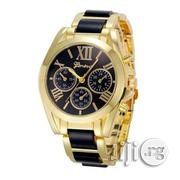 Geneva Steel Wrist Watch - Gold/Black | Watches for sale in Lagos State, Agege