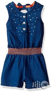 Little Lass Baby Girls' 1 Pc Rhinestone Chambray Romper- Deep Blue | Children's Clothing for sale in Lagos State