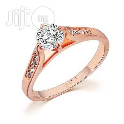 Wedding Engagement Rings-Zircon Ring Plated Gold.
