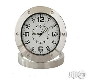 Universal Round Shaped Surveillance Hidden Camera Clock With Camera- Silver   Security & Surveillance for sale in Lagos State, Ikeja