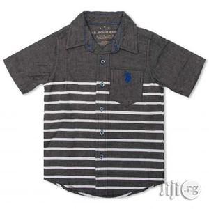 US Polo Assn Toddler Boys SS Printed Grey and White Shirt - 3T   Children's Clothing for sale in Lagos State, Surulere