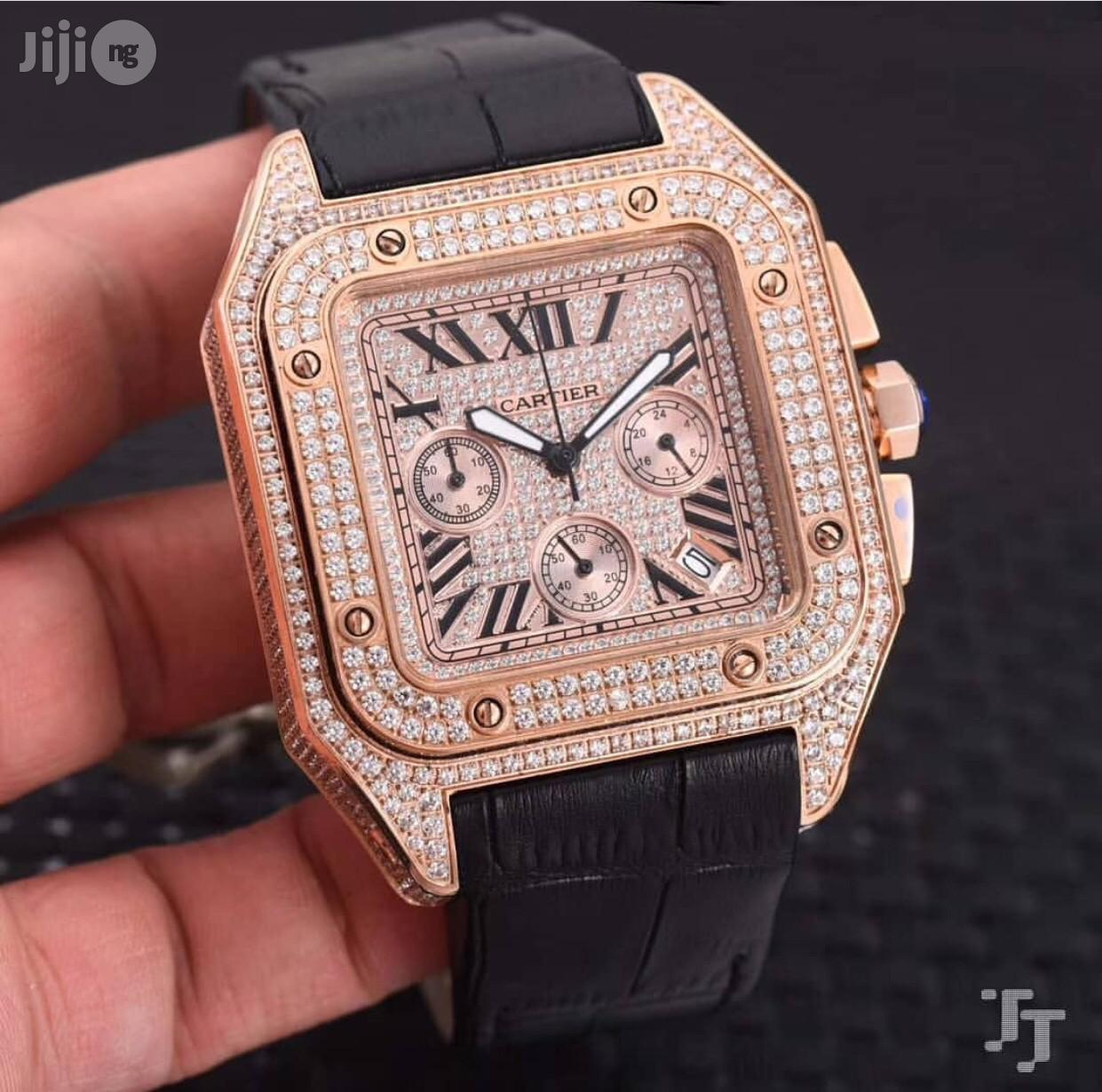 Cartier Ice Studded Chronograph Genuine Leather Strap Watch