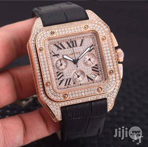 Cartier Ice Studded Chronograph Genuine Leather Strap Watch | Watches for sale in Lagos State, Surulere