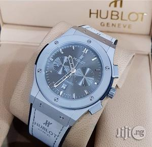 Hublot Chronograph Genuine Leather Strap Watch | Watches for sale in Lagos State, Surulere
