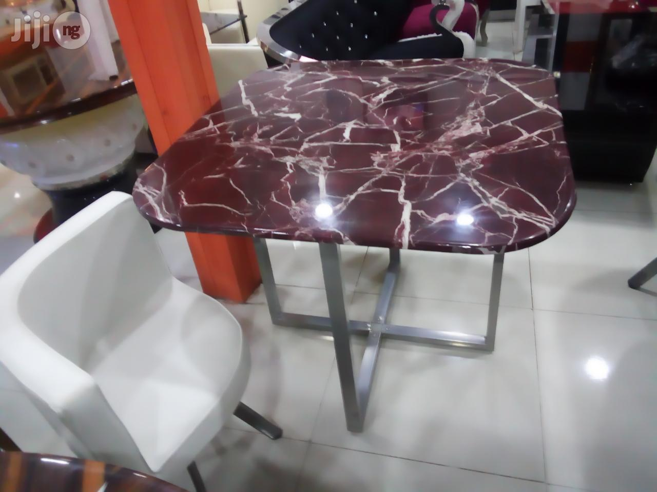 Super Executive 4sitter Marble Dinning With 4 Leather Chairs. | Furniture for sale in Lekki, Lagos State, Nigeria