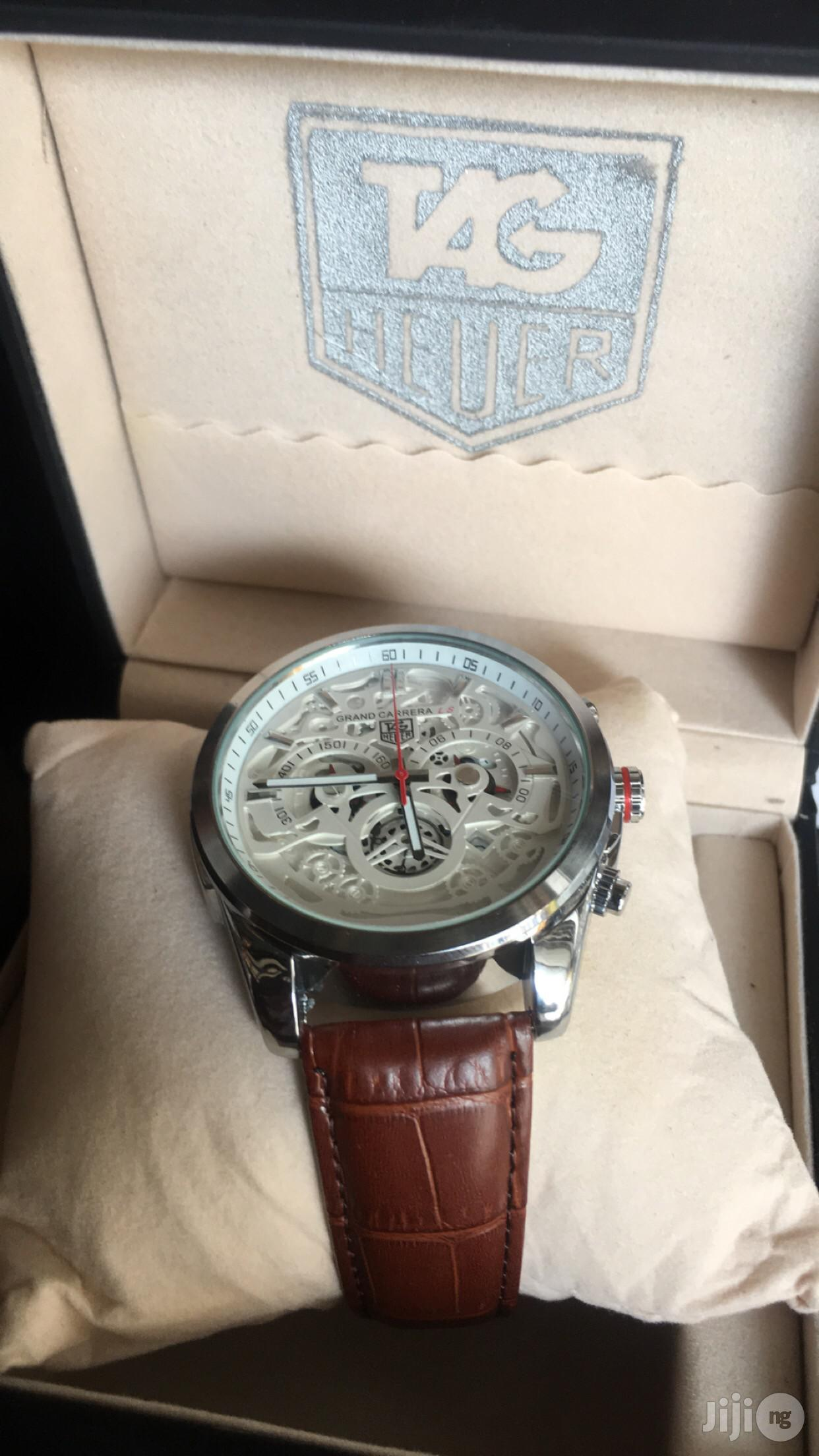 Tag Heur Chronograph Genuine Leather Strap Watch