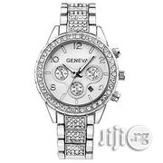 Geneva Studded Female Silver Wristwatch With Date | Watches for sale in Lagos State, Agege