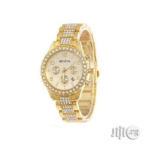 Geneva New Fashion Rhinestone Studded Watch - Gold   Watches for sale in Lagos State, Agege