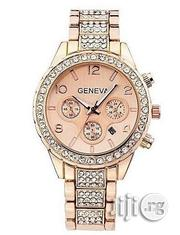 Geneva Studded Watch With Date-rosegold | Watches for sale in Lagos State, Agege