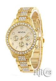 Geneva Rhinestone Classic Watch With Date-gold | Watches for sale in Lagos State, Agege