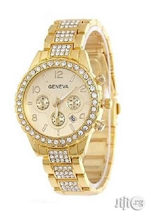 Geneva Rhinestone Classic Watch With Date-gold   Watches for sale in Lagos State, Agege