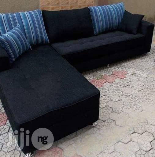 Archive: Sofa Chair, Set Of L With Throws And Pillows. Black/Blue Suede/ Fabric