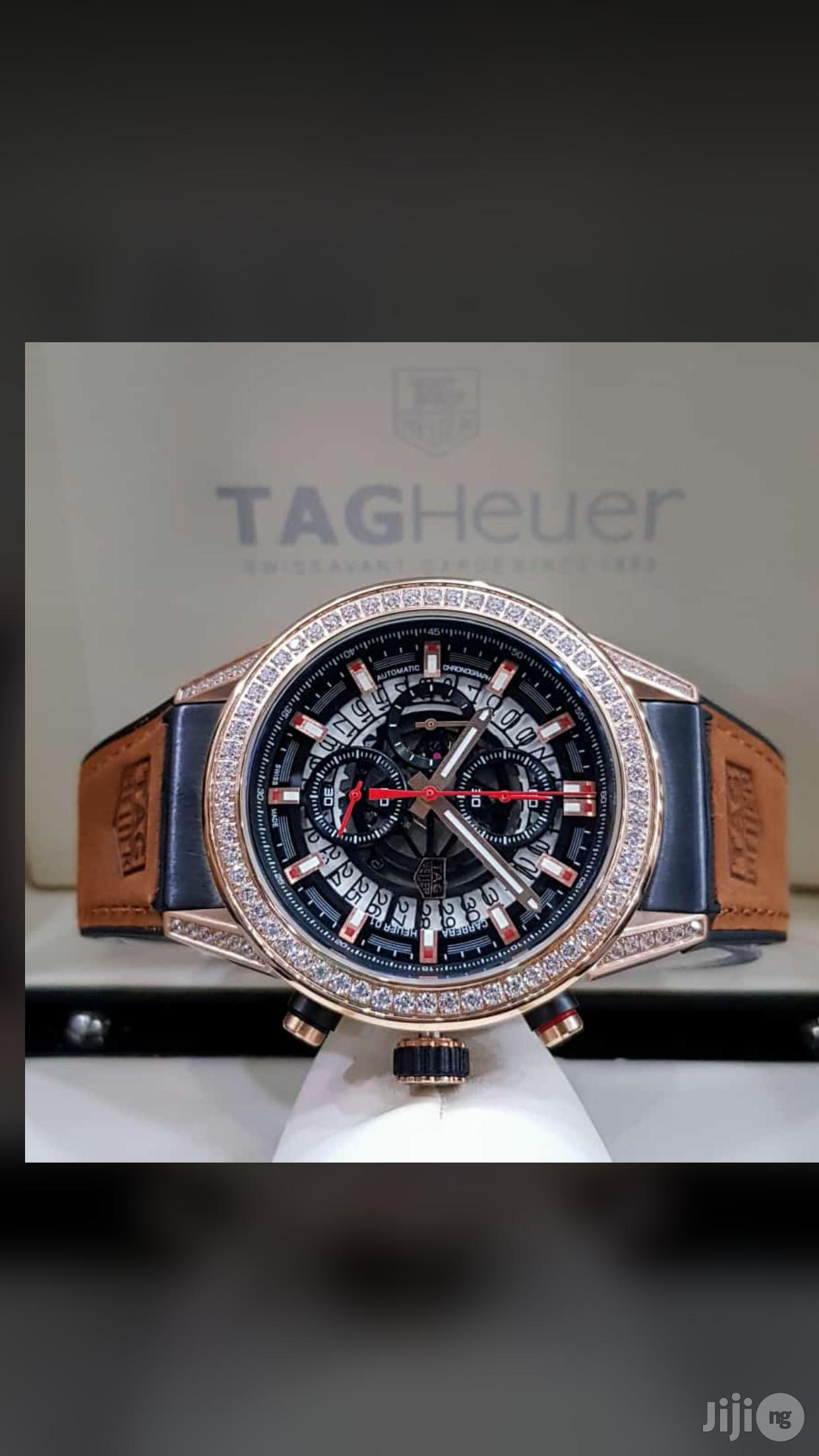 Tag Heuer Genuine Leather Strap Chronograph Ice Head Watch