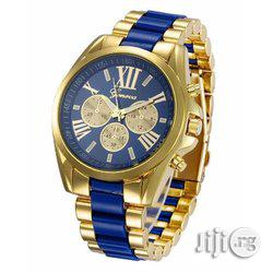 Geneva Rhinestone Wrist Watch - Gold and Black, Blue White Strap   Watches for sale in Lagos State, Ikeja