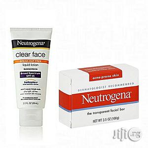 Neutrogena Clear Face Sunscreen Lotion SPF 55 Facial Cleansing Bar for Acne Prone Skin   Skin Care for sale in Lagos State, Ojo