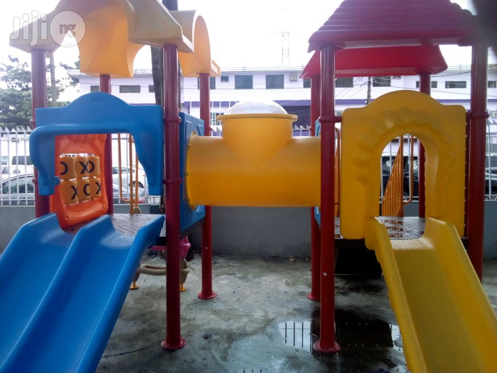 Double Slides With Double Playhouse For Kids