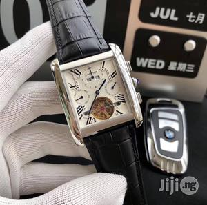 Cartier Chronograph Genuine Leather Strap Watch | Watches for sale in Lagos State, Surulere