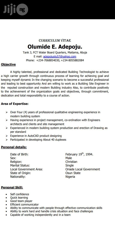 Construction CV   Advertising & Marketing CVs for sale in Maitama, Abuja (FCT) State, Nigeria