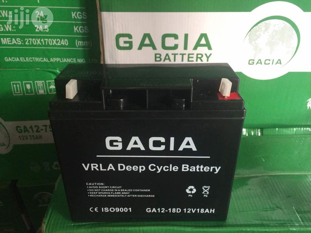 12V 18AH Gacia VRLA Deep Cycle UPS Battery