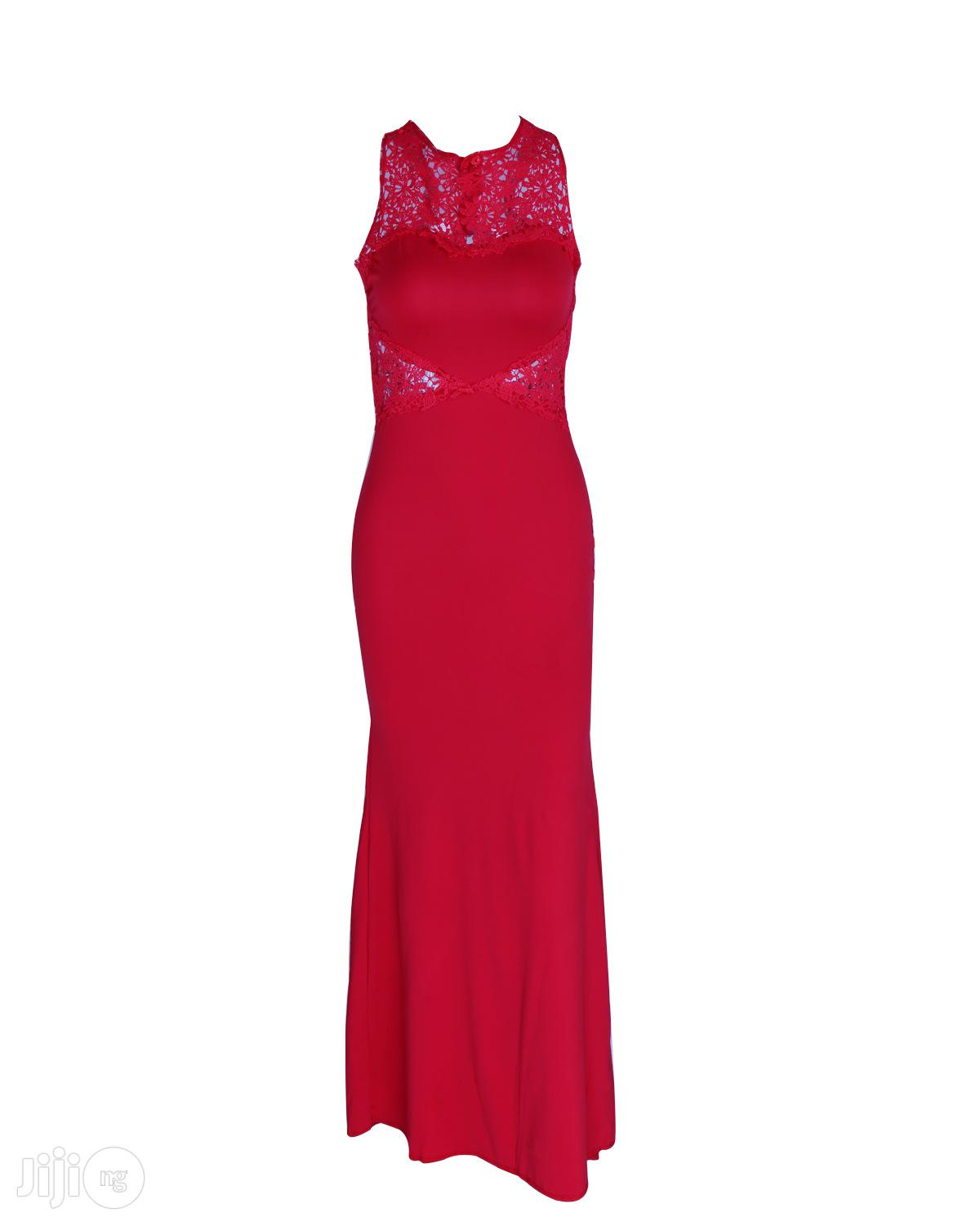 Red Exotic Dress Applique Stitching Sleeveless Sexy Classic Dress