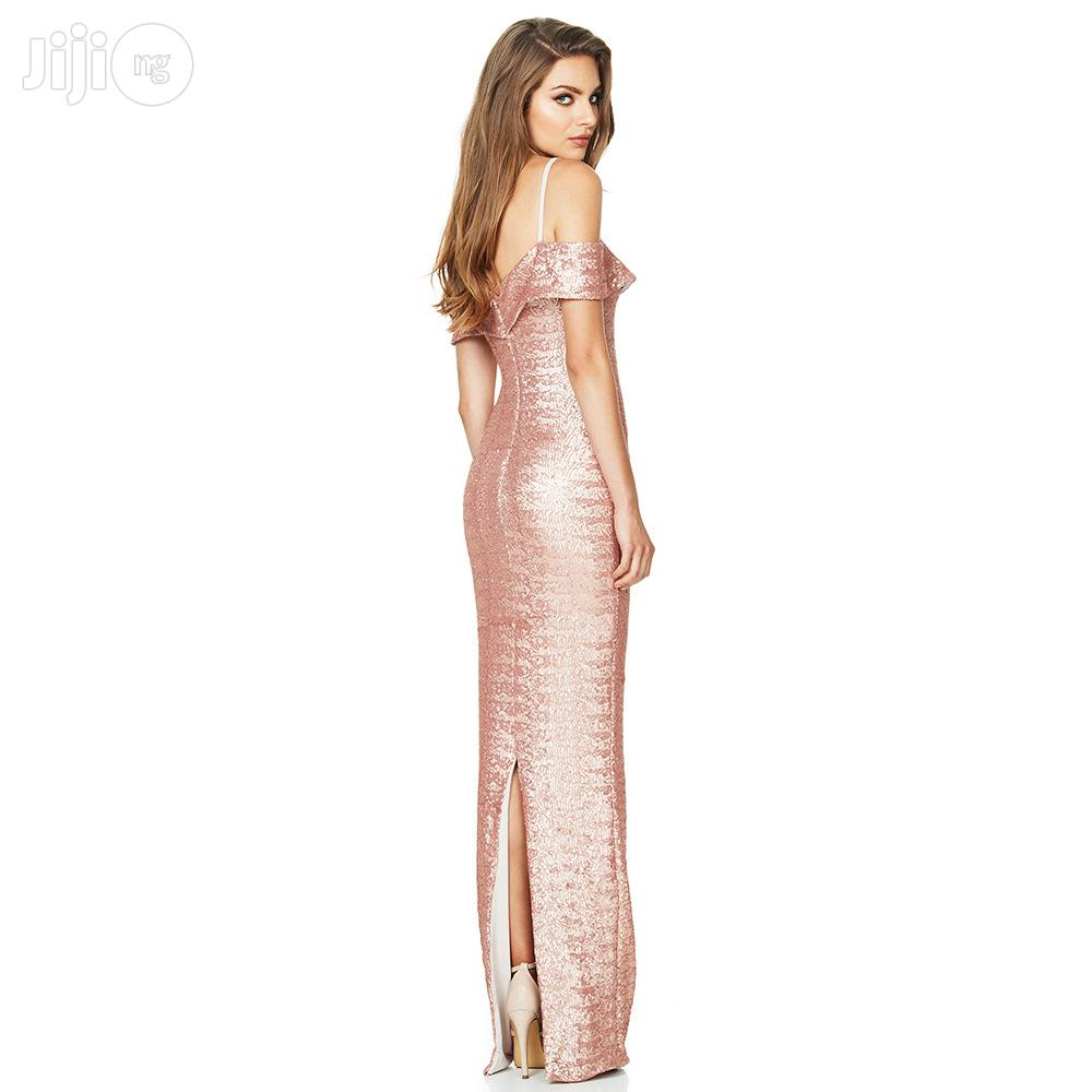 Women's Sequined Classic Long Skirt Straps Deep V Luxury Dress | Clothing for sale in Ikeja, Lagos State, Nigeria