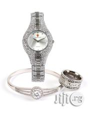 Diamond Stone Design Female Wrist Watch With Ring And Bangle | Jewelry for sale in Lagos State, Surulere
