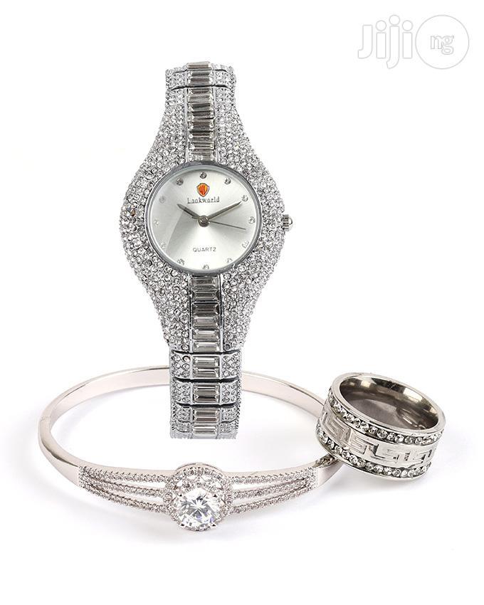 Diamond Stone Design Female Wrist Watch With Ring And Bangle